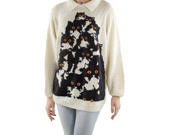 White Collar Crazy Kitty Sweater