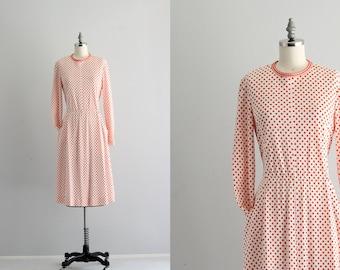 Orange Polka Dot Dress . Mod Long Sleeve Dress with Pockets . 60s 70s Dress