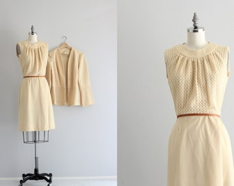 Vintage 1960s Dress Set . Sleeveless Dress . Retro Mod Jackie O Dress
