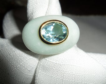 Vintage Gold Vermeil Amazonite and Blue Topaz Sterling Silver Ring Size 7 by Rarities