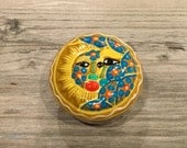 Vintage Mexican Pottery Moon Face Celestial Covered Box- Mexican pottery, trinket box, jewerly box, catchall, moon box, celestial, box