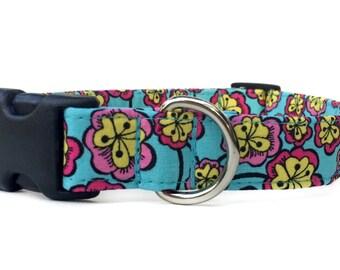 Pink Blue Dog Collar / Floral Dog Collar / Girl Dog Collar / Aqua Dog Collar / Flower dog collar / Pink Aqua Dog Collar