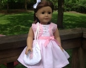 18 Inch Doll Clothes Pink Checked Dress with Slip, Shrug and Purse for dolls like American Girl