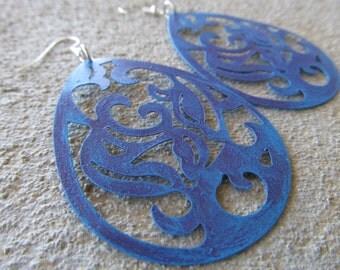 LARGE Purple/Blue Earrings- BOLD earrings