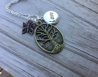 Tree Mixed Metals Charm Necklace- Tree, Butterfly, Love- with your choice of chain