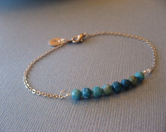 Personalized Turquoise Bead Bracelet, Everyday Casual or Bridal, Bridesmaid gift