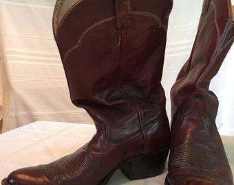Brown Mahogany Leather Dan Post Cowboy Boots