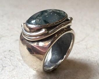 Sterling Silver Quartz Ring, Chunky Silver Ring, Silver Ring, Rutilated Quartz, Statement Ring,  oval Gemstone, Transparent Stone Ring k#531