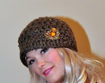 Brim Hat Brim Beanie Newsboy Cap Barley Brown CHOOSE COLOR Crochet Winter Women Girly Gift under 50