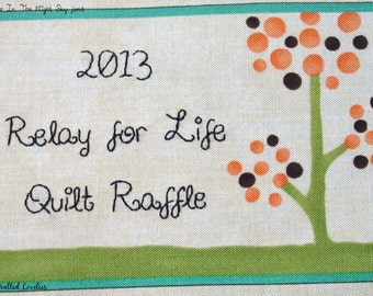 Quilt Label - Polka Dot Tree, Custom Made & Hand Embroidered LAST ONE