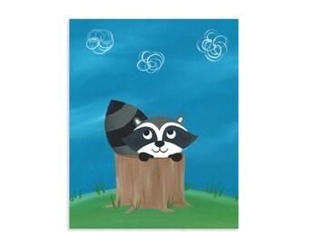 Peekaboo Raccoon Art Print - Cute Raccoon Nursery Art