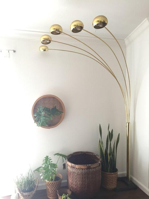 vintage mid century modern brass arc orb floor lamp spider pod lamp light settings