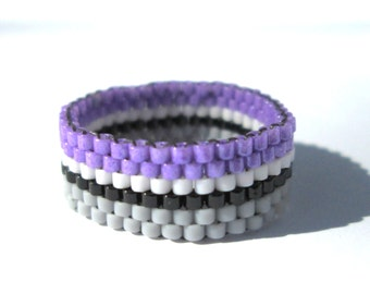 Asexual Pride Seed Bead Ring  Summer Peyote Ring  Gay Pride Bead Ring  Thin Band Ring Ace Pride jewelry LoveisLove LGBT LGBTQ