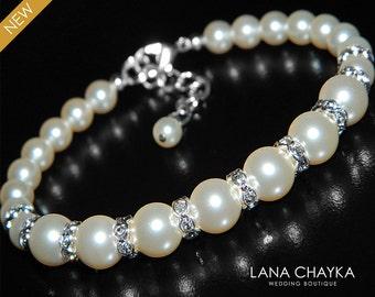 Pearl Bridal Bracelet Swarovski Cream Ivory Pearl Wedding Bracelet Pearl Silver Bracelet One Strand Ivory Pearl Bracelet Bridal Bracelet