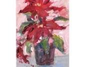 Original acrylic floral painting Christmas Poinsettia 4x6