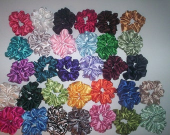 15 Satin Hair Scrunchies Handmade  32 Colors To Choose From   4 NEW COLORS ADDED