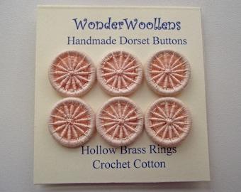 Dorset Buttons, Handmade Buttons, Cotton & Hollow Brass Buttons, Six Peach Dorset Buttons, Artisan Dorset Buttons, Unique Buttons