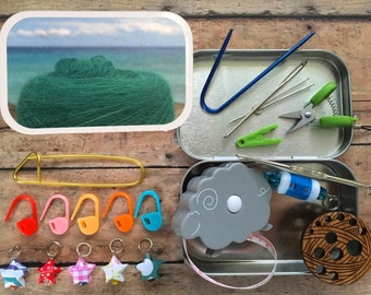 Yarn Beach Vacation: Knitter's Tool Tin, filled with miniature knitting notions!
