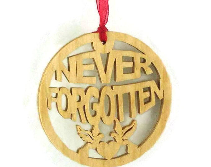 Never Forgotten Christmas Ornament With Heart And Doves Handmade From Birch Wood, Soldier Ornament, Fallen Soldier, POW Ornament