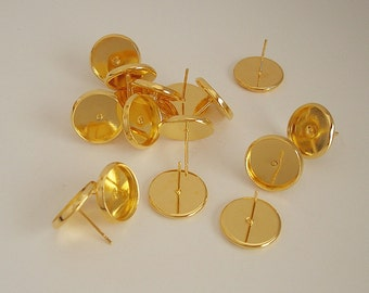 Earring Cabochon Settings, 12mm Cabochon Tray, Earr Post, Gold Plated Brass.