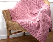 Custom Listing for Sheri , cable lap blanket in wild rose