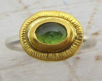 Tourmaline Ring Gold, 24k Gold & Silver Ring, Green Tourmaline and 24 Karat  Gold Ring