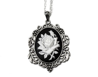 White Rose Cameo Necklace