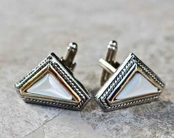 Wedding Cuff Links, Groom Gift for Him, White Silver Gold Moonstone Reclaimed Recycled Jennifer Jones Triangle OOAK Unisex Modern Classic