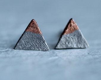 Triangle Mountain Earrings ... Geometric Deco Silver Stud Posts