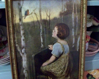 Vintage Print of Little Girl and a Bluebird Singing in the Woods Shabby Cottage Home Decor