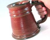 Large 24 oz. Tankard, Stein, Coffee Mug - Handmade Pottery Glazed Rustic Rust Red