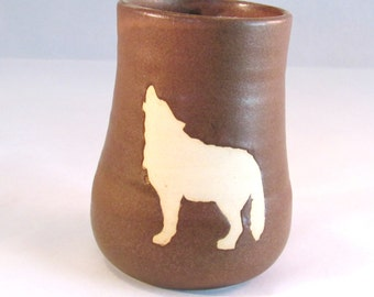 Howling Wolf Tumbler, Pencil Holder - Handmade Pottery Bare Off-White Clay Wild Animal Silhouette Against Rustic Brown