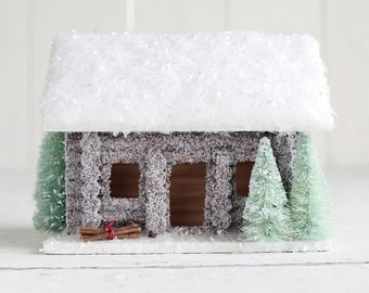 Winter Cabin - Glittered Wooden Log Cabin Christmas Decoration