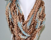 50 PERCENT OFF Beautiful Cream/Aqua/brown Shades of Infinity Scarf/ neck warmer/Necklace/fashion