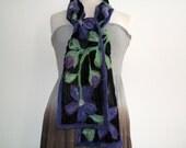 Purple tropical flowers on black silk chiffon: nuno felted scarf