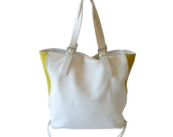 Authentic Maurizio Taiuti White & Yellow Shopper Tote Shoulder Bag Made in Italy XL