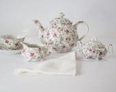 Vintage Lefton China Tea Set with Rose Pattern