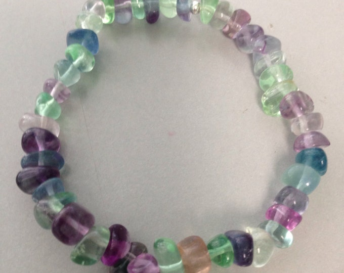 Rainbow Purple Blue & Green Fluorite 8mm Nugget Stretch Bead Bracelet for Arthritis, Protection and Intuition AAA Grade