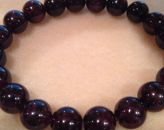 Garnet 10mm Deep Wine Purple Red Stretch Bead Bracelet with Sterling Silver Accent