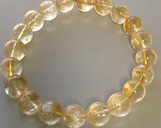 Citrine Bracelet, Stretch Bracelet, 10mm Bead Bracelet - Genuine Citrine Beaded Bracelet, Gemstone Bracelet, Citrine Jewelry, Abundance