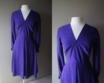 Vintage JOHN NEVILLE Purple Dress Made Men Dress Full Skirt Small Dress Medium Dress Long Sleeve Dress Waist Tie Work Dress Size 38