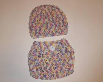 CLEARANCE, crochet diaper cover and hat set, photo prop