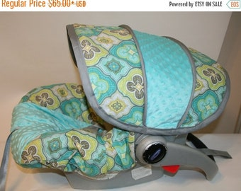 Fall SALE Medallion fabric with Aqua minky and gray trim- Infant car seat cover- Custom Order by Baby Seat Covers By Jill - Always Free Stra