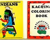 KACHINA and AMERICAN INDIAN, Lot 2 Unused Coloring Design Books, First Edition Softcover 1980 & 1982