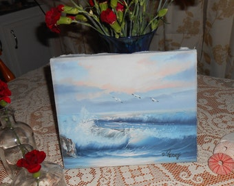 Vintage Oil SEASCAPE California Water Ocean Birds Signed D. Perry