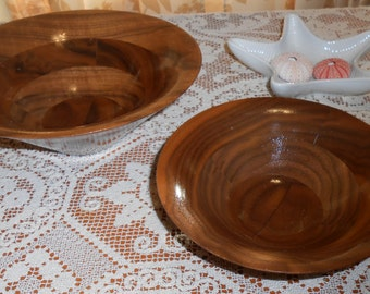 Vintage Two Hand Carved Walnut Art Bowls - Signed Armand - La - Fosse Santa Cruz CA