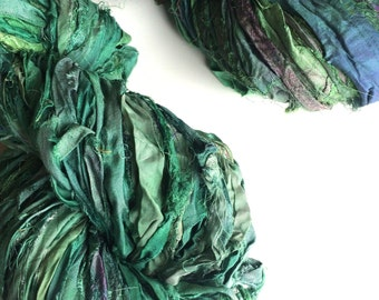 Silk sari ribbon, 100g, forest green, Art Yarn, Eco Friendly Yarn, Craft ribbon for jewelry making and arts and crafts, knitting yarn.
