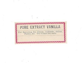 Pure Extract Vanilla Vintage Label, 1920s