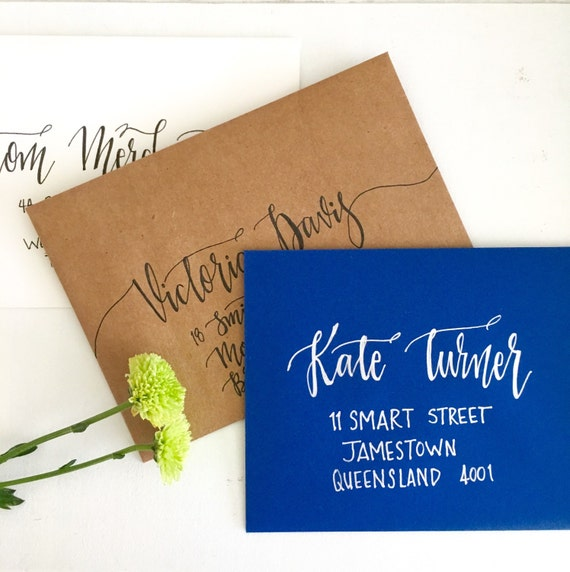 Calligraphy Wedding Envelopes Hand Lettered Custom By