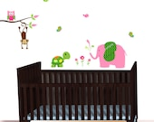 Mini Turtle Wall Decal, Monkey Jungle Wall decal, Pink Elephant Blowing Water, Over Crib Decal, Chevron Jungle Theme Wall Stickers - as510pk